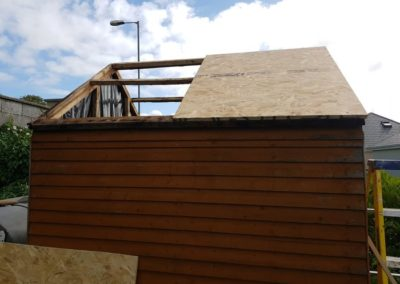 repair garden shed roof - during